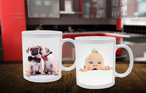 Two Personalized Dishwasher Safe Photo Mugs